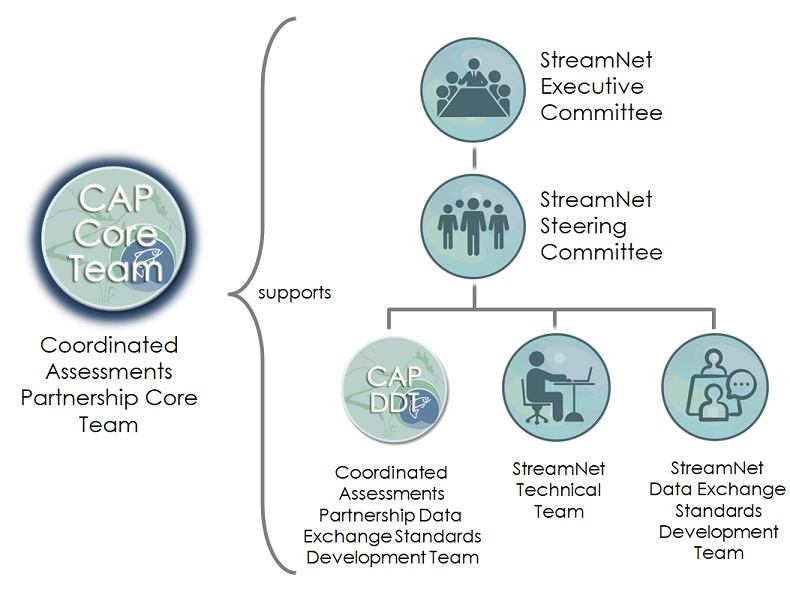 Diagram showing the relationships among the StreamNet Committees and Teams and the CAP Teams. The CAP Core Team provides support to all the other committees and teams.