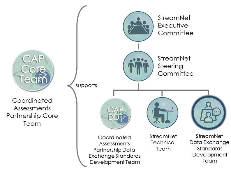 Diagram showing the relationships among the StreamNet Committees and Teams and the CAP Teams. The StreamNet Data Exchange Standards Development Team is on the bottom level with the other three teams .