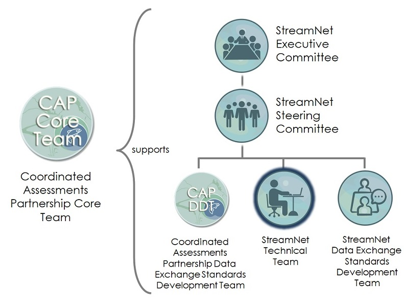 Diagram showing the relationships among the StreamNet Committees and Teams and the CAP Teams. The StreamNet Technical Team is on the bottom level with the other three teams .
