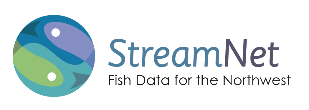 """Logo for the StreamNet Program including the tag line """"Fish Data for the Northwest"""""""